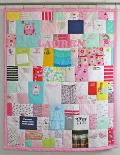 Baby clothing quilt - first year quilt made of all the cutest bits of your fave baby clothes!