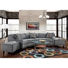 Sofa Trendz Bindel Grey Curved Sectional Sofa with Ottoman Set   Overstock.com Shopping - The Best Deals on Sectional Sofas