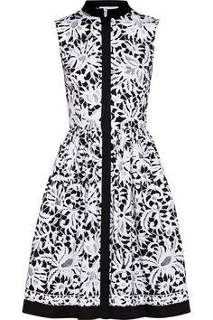 Oscar de la Renta Printed stretch-cotton shirt dress