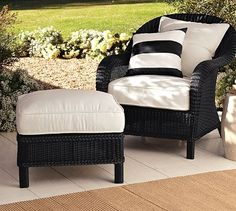 The most comfortable chair, ever. Palmetto All-Weather Wicker Armchair - Black #potterybarn $699.
