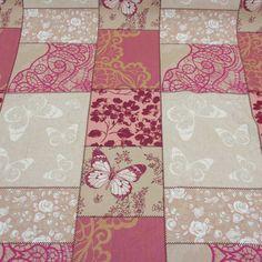 Stoff Baumwolle beige fuchsia rosa weiß weiß  Patchwork Schmetterlinge Ökotex 100 von werthersstoffe auf Etsy