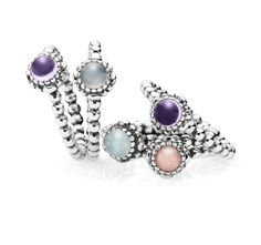 Pretty in pastels. Combine your favorite color of stones and create your spring look. $45 #PANDORAring