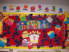 Birthday bulletin board!  Bag of treats & certificate is for each student is on the board, ready to give them on their special day.  From Mrs. Terhune's First Grade Site!: The Ultimate Classroom Tour