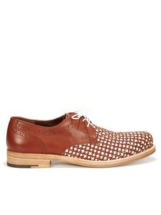 Salvatore Ferragamo Bario Woven Leather Lace Ups