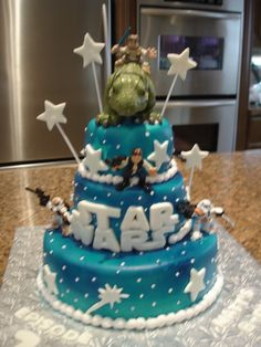 Matthew's Star Wars Cake - Made this cake for my nephew's 7th Bday.  4, 6, 10 inch rounds. Covered in fondant and thn airbrushed blue.  Fondant and BC accents.  Figures are store bought.