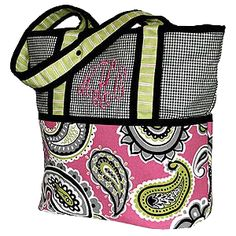 Hoohobbers personalized diaper bag in the whimsy design collection in fanciful pink and arcs of lime and black is both dynamic and memorable.