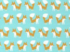 Fanfare Foxes Organic Flannel Blue (Ships September) For George's swaddling blanket