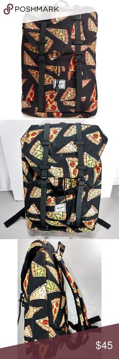 New HERSCHEL SUPPLY CO. Retreat Pizza Backpack See last pic for description taken directly from website.  New, never carried, excellent condition.  Pizza print.  Pics 2-7 are actual sale item. Herschel Supply Company Bags Backpacks