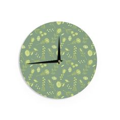 """Holly Helgeson """"Hattie"""" Green Floral Wall Clock"""