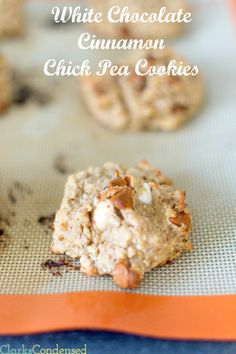 White Chocolate Cinnamon Chick Pea Cookies -- healthy and good for digestion, these cookies are just about as good as any other cookie recipe (or maybe even better!)