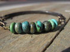 Turquoise & Copper Bracelet- Raw, earthy, simplistic. $58.00, via Etsy.
