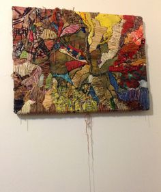 Marroquin Ruben -  Map Series 2008 Embroidery, collage, on fabric and paper. With metallic wire and assorted threads.