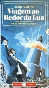 Capa de Viagem ao Redor da Lua, onde Julio Verne antecipa de forma visionária as viagens espaciais.