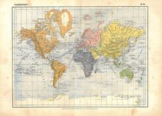 Antique World Map 1910s by carambas on Etsy, $25.00