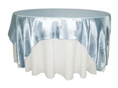 Blue Satin Table Overlay provided by Waterford Event Rentals.