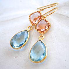 Aqua Quartz Teardrop with Peach Jewel Dangle by laurenamosdesigns, $84.00