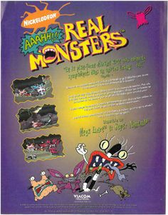 Aaahh!!! Real Monsters for Mega Drive and Super Nintendo (France, Viacom New Media / CIC, December 1995)