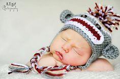 Everyone needs a sock monkey photo prop hat for newborn