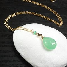 Chrysoprase 14k Gold Filled necklace Apple Green gemstone