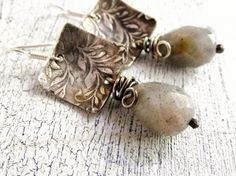 Rustic Ivy Textured Silver Earrings with Labradorite Gemstones