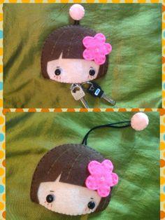 Felt sweet girl key pouch