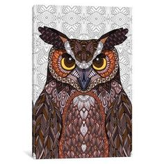 """East Urban Home Great Horned Owl Graphic Art on Wrapped Canvas Size: 40"""" H x 26"""" W x 0.75"""" D"""
