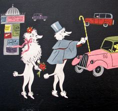 Vintage Poodle Couple in France 4 Trays 1950s by BeeJayKay, $250.00