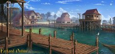 This is my second concept for Farland online. Its a fishing port/Fishing village docks area. The Fishing Port Village Map, Seaside Village, Seaside Towns, Episode Interactive Backgrounds, Episode Backgrounds, Environment Concept Art, Environment Design, High Fantasy, Fantasy World