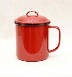 """Solid Red with Black Trim Enamelware Mug with Lid- 5""""H x 4.75""""D."""