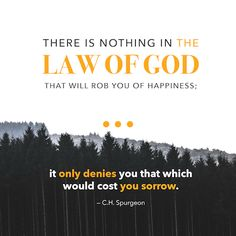 """""""There is nothing in the law of God that will rob you of happiness; it only denies you that which would cost you sorrow."""" (C.H. Spurgeon)"""