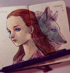"""qinni: """" Sansa Stark 💕 ~ Really starting to like her a lot this season. I mean, I didn't dislike her or anything, I just felt sorry for her more than anything else for most of the time until now. Beautiful Drawings, Cool Drawings, Qinni, Three Wise Monkeys, Game Of Thrones Art, Art Calendar, Sansa Stark, Tumblr, Marker Art"""