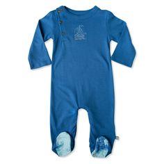 Finn + Emma organic baby footie [delft blue]