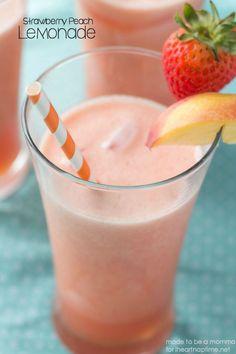 Strawberry Peach Lemonade -YUM! Recipe found at iheartnaptime.net