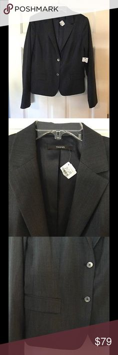 """🆕 Tahari navy blazer Beautiful single breasted blazer from Tahari. Color says navy on tag, but appears a bluish gray to my eye. Polyester/rayon/elastane. Lined. Underarm across 19"""". Length 21"""". Brand new with tag from Neman Marcus. Tahari Jackets & Coats Blazers"""