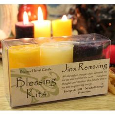 Our jinx removing spell candle kits contain a triad of three hand poured, blessed herbal votive spell candles by Coventry Creations. These spell candles are the smaller votive version of the popular blessed herbal pillar candles, made of the same natural ingredients as their larger counterparts. This kit contains herbal candles that are made with herbs corresponding to removing negative energies/jinxes. Burn all three at once, individually. #spellcandles #wicca #wiccan #witchcraft #pagan #ri...