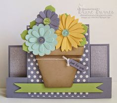 Stampin Up flower pot & birthday centre step card & instructions. By Di Barnes Fancy Fold Cards, Folded Cards, Center Step Cards, Side Step Card, Easel Cards, Mothers Day Cards, Pop Up Cards, Card Tutorials, Creative Cards