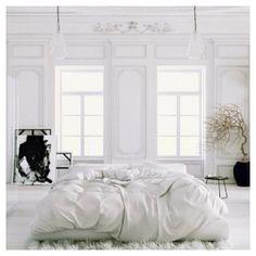 White on white bedroom. Love!