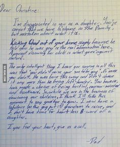 A father's letter to his daughter about her disowning her gay son.