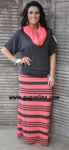 Minus the jewelry Doing Fine Striped Maxi Skirt in Coral and Gray www.gugonline.com $19.95