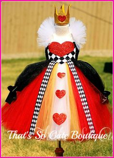 Queen of Heart Tutu Dress, Queen of Hearts Costume, Pageant wear, Alice in Wonderland Costume