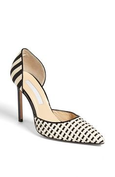 Manolo Blahnik 'Carolyn' Raffia & Leather d'Orsay Pump available at #Nordstrom