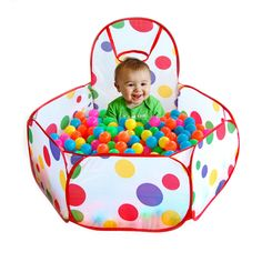 This Folding Ocean Ball Pool is made of high grade polyester and with bright color dots pattern. It is easy to open and fold up, a great ball pool that provide enough space for kids to play.