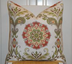 Decorative Pillow Cover  Floral Suzani  by TurquoiseTumbleweed, $45.00