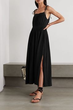 APIECE APART Black Cotton Spaghetti Strapped Midi Dress - We Select Dresses Dress Skirt, Dress Up, Dress Outfits, Cute Outfits, Cotton Slip, Short Dresses, Formal Dresses, Vacation Dresses, Fashion Advice