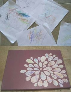 Toddler Scribble Art - this is genius. Have Bryson make scribble art and create something like this flower Kids Crafts, Cute Crafts, Toddler Crafts, Crafts To Do, Projects For Kids, Art Projects, Arts And Crafts, Toddler Fun, Scribble Art