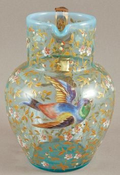 Pretty Blue Opalescent Moser Art Glass Pitcher with birds & insects flying amidst gilt blossoms Cut Glass, Glass Art, Antique Glassware, Glass Pitchers, Glass Ceramic, Murano Glass, Stained Glass, Decoration, Metal Sculptures