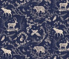 Buy Woodland Winter Toile (in Coal) custom fabric, wallpaper and home accessories by nouveau_bohemian on Spoonflower Chinoiserie, Toile Design, Woodland Fabric, Rico Design, Navy Background, Fabric Wallpaper, Quirky Wallpaper, Bohemian Wallpaper, Deer Wallpaper