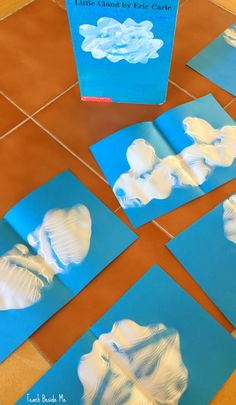 Ink Blot Cloud Shapes: Craft for Little Cloud Book Little Cloud book by Eric Carle. FUN preschool craft project idea ~ make Ink Blot Cloud Shapes! Great for all ages. via /karyntripp/ Weather Activities Preschool, April Preschool, Preschool Crafts, Preschool Activities, Preschool Art Projects, Preschool Learning, Toddler Book Activities, Spring Preschool Theme, Preschool Art Lessons