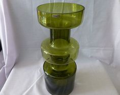 Vintage Riihimean Lasi Oy By Tamara Aladin Mid Century Tall Heavy  Green Hoop Vase Made In Finland  Green Vase, Collectible Glass,Gifts.