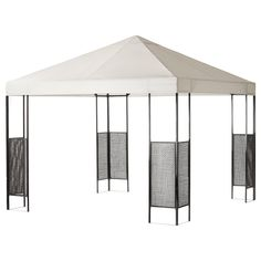 AMMERÖ dark brown, beige, Gazebo. The fabric gives excellent protection against the sun's UV rays as it has a UPF (Ultraviolet Protection Factor) rating of 50+, which means it blocks 98% of the ultraviolet radiation. Easy to keep clean as the fabric can be removed and washed. The air vent reduces wind pressure and allows heat to circulate. The steel with hand-woven plastic rattan corner panels makes the gazebo both sturdy and durable. Gazebo Curtains, Backyard Pergola, Ikea, Gazebo Replacement Canopy, Tempered Glass Table Top, Dark Brown, Brown Beige, Small Garden Design, Curtain Fabric